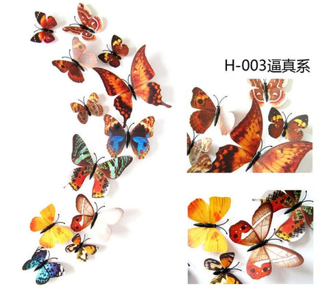 12Pc 3D PVC Butterflies Wall Stickers Decoration Wedding Cake Toppers Home Decor School Craft DIY  - Brown Mixed