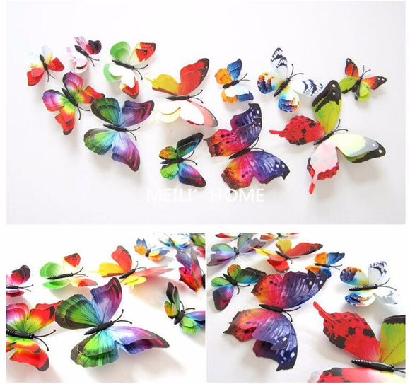 12Pc 3D PVC Butterflies Wall Stickers Decoration Wedding Cake Toppers Home Decor School Craft DIY  - Colors 2