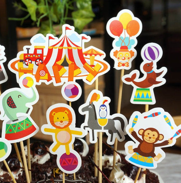 Circus Animals Clowns Show Party Supplies Cardboard Cupcake Toppers - 9 PC with wooden sticks CA100418