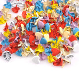 Heart Shaped Paper Fasteners Brads - Scrapbook embellishment Metal Decorative Brads 8mm x 9mm  AHS100618 Assorted Colors