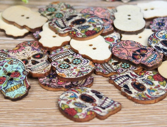 25PC  Mexican Sugar Skull Wooden Buttons Crafts DIY Wood MS1019
