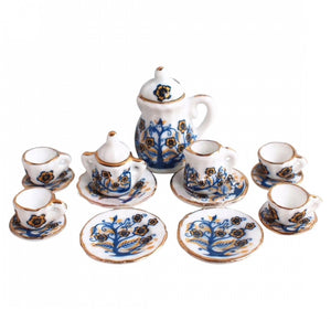 17pc Miniature Dollhouse Plates White Blue gold MD1207