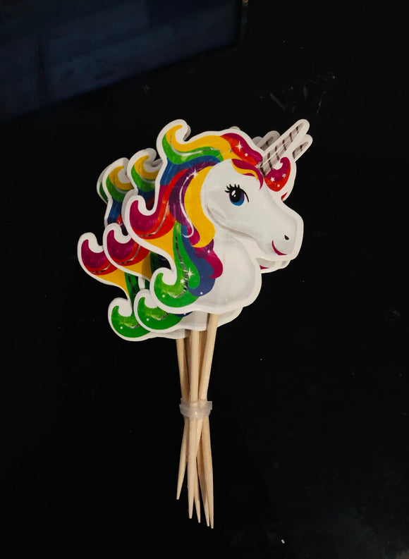 12pc Unicorn  Rainbow colors Party Supplies Toothpick Cupcake Toppers RU1208