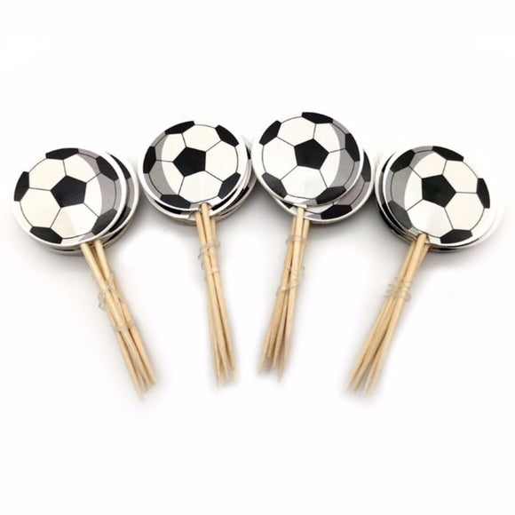 24 pc Soccer Sports Ball Party Supplies Cardboard Cupcake Toppers with wooden sticks ST1213