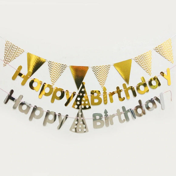 Happy Birthday Banner Celebration Silver Gold Flag Party Hanging Decoration GS111618