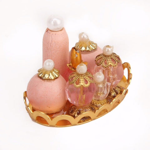 1PC Perfume Platter Beauty Tiny Dollhouse Miniature Vintage Inspired Realistic BP1213