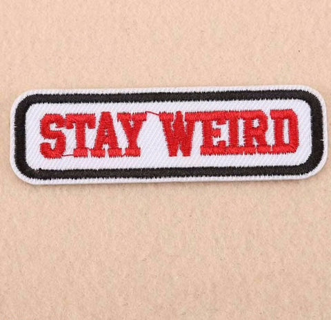 Stay Weird Embroidered Floral Iron On Patch Applique sP1213