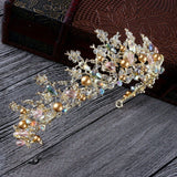 Multi Colored Gold Tone Crystals Tiara Princess Prom Wedding Bridal Hair Jewelry Quinceanera Pageant headband Crown MC0111 with earrings