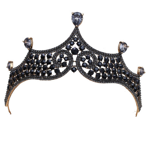 Charcoal Black Rhinestone Bronze tone Tiara Princess Prom Wedding Bridal Hair Jewelry Quinceanera Pageant headband Crown BB0321