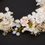 Pink Beads Pearl Flower Gold Princess Prom Wedding Bridal Hair Jewelry Quinceanera Pageant headband Crown GF0415