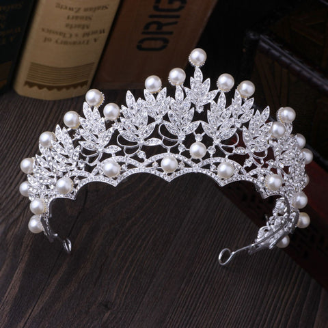 Clear Crystal Rhinestone Pearl Beads Silver tone Tiara Princess Prom Wedding Bridal Hair Jewelry Quinceanera Pageant headband Crown CP0303