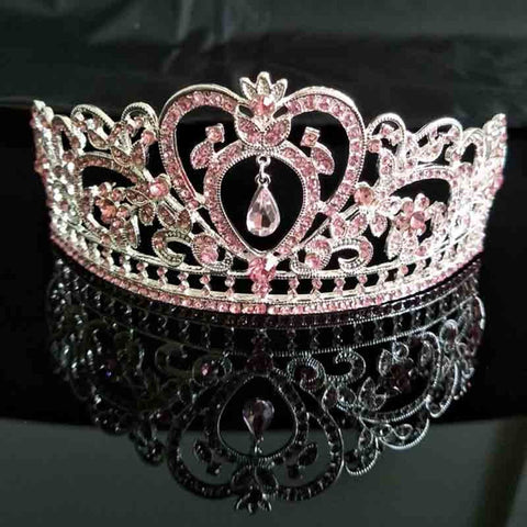 Light Pink Crystal Rhinestone Silver tone Tiara Princess Prom Wedding Bridal Hair Jewelry Quinceanera Pageant headband Crown ST0303