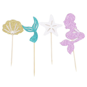 12 pc Glitter Mermaid Shell Sea Party Supplies Cardboard Cupcake Toppers - 4 assorted with wooden sticks MT0417