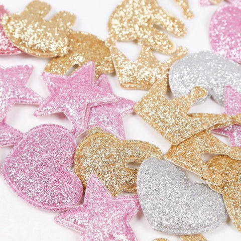 50 pc Glitter Crown Heart star bunny Pink Gold Puffy Patch Silver Shiny PP0417