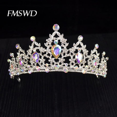 Silver tone AB Crystal Rhinestone Princess Prom Wedding Bridal Hair Jewelry Quinceanera Pageant headband Crown AB0328
