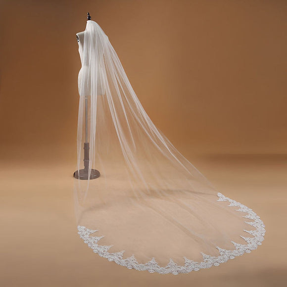 Long Elegant Lace Cathedral Wedding Veil Bridal with Comb - Ivory or White approx 10FT LC0417