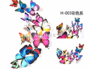 12Pc 3D PVC Butterflies Wall Stickers Decoration Wedding Cake Toppers Home Decor School Craft DIY  - Colors 3