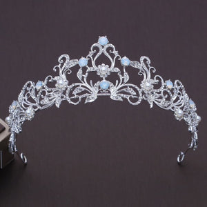Clear opaque Crystal Rhinestone Silver tone Tiara Crown OP0422