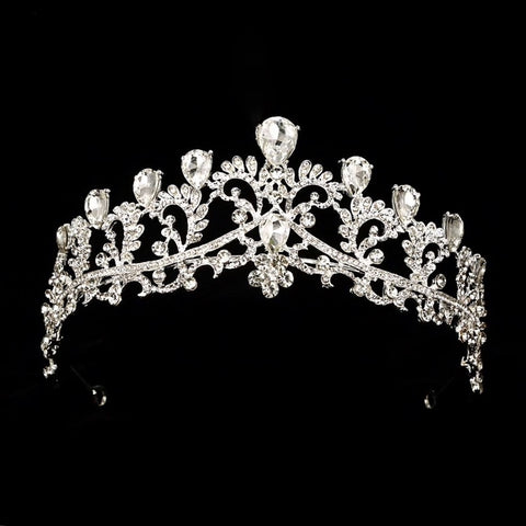 Crystal Clear Stones Elegant Silver tone metal Tiara Princess Prom Wedding Bridal Hair Jewelry Quinceanera Pageant headband Crown EC0422