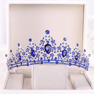 Blue Crystal Stones Elegant Silver tone metal Tiara Princess Prom Wedding Bridal Hair Jewelry Quinceanera Pageant headband Crown SB0423