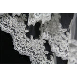 Two Layer Lace Bride Wedding tulle Applique Veil Bridal with Comb - Ivory or White approx 2.5 FT AF616