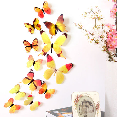 12Pc 3D PVC Butterflies Wall Stickers Decoration Wedding Cake Toppers Home Decor School Craft DIY  YELLOW YB0627