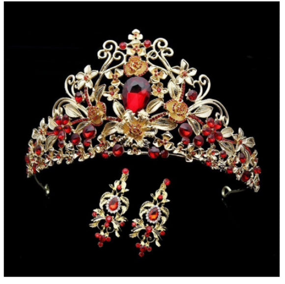Red Crystal Gold tone Tiara With Earrings Crown EC704