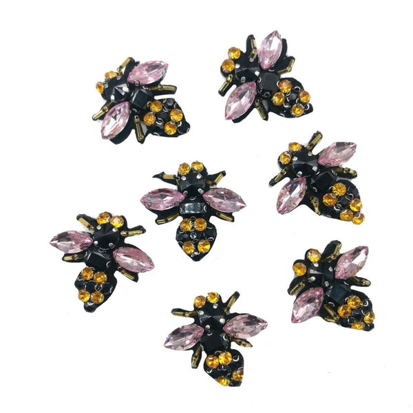 Rhinestone Jewel Acrylic Insects Bees Colorful Embroidered Sew on Patch Applique AB704