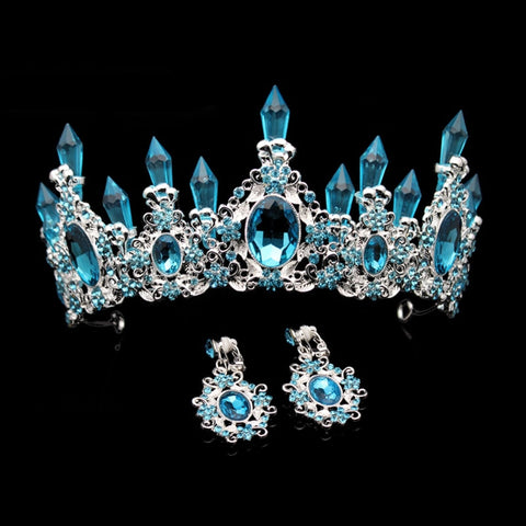Light Blue Crystal Resin Quartz Mermaid Silver tone Tiara Princess Prom Wedding Bridal Hair Quinceanera Pageant Crown LB715 with earrings
