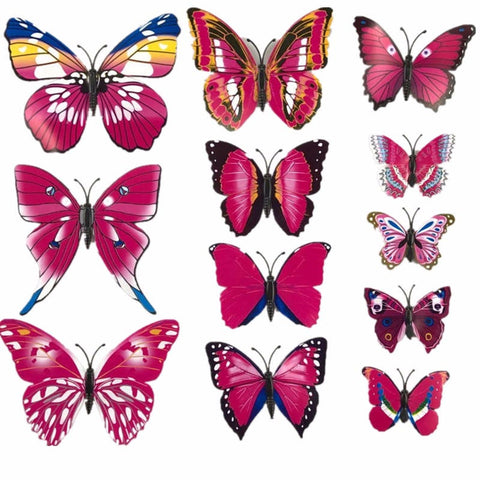 White Pink 12Pc 3D PVC Butterflies Wall Stickers Decoration Wedding Cake Toppers Home Decor School Craft DIY  WP704