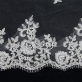 One Layer Long Elegant Floral Lace Cathedral Wedding Veil Bridal with Comb - Ivory or White approx 10FT BV704