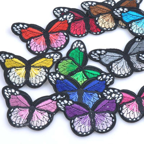 2PC Butterfly Insects Butterflies Assorted Colored Variety Embroidered Iron on Patch Applique PG011518 - choose color
