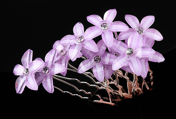 10 PC Lavender Purple Flowers Hair Floral pins hairpins Wedding Bridal Rhinestone Party Fashion LP0914