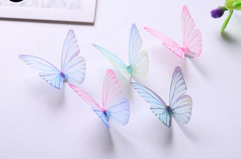 5Pc 3D Butterflies Sheer multicolored 3cm decor party supplies nail art SN0921