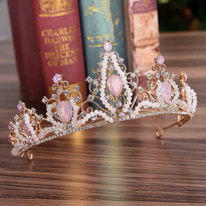 Clear pink bead Crystal Gold tone Tiara Crown LP0922