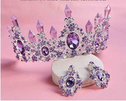 Light Purple Crystal Resin Quartz Mermaid Silver tone Tiara Princess Prom Wedding Bridal Hair Quinceanera Pageant Crown PC0922 with earrings
