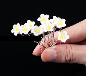 10 PC White Daisy Flower pins hairpins Wedding Bridal Party Fashion WDF929