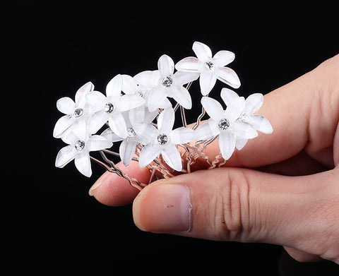 10 PC Clear White Flower pins hairpins Wedding Bridal Party Fashion CF928