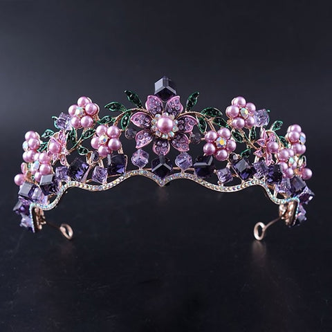 Dark Purple Flower Crystal Rhinestone Gold tone Tiara Princess Prom Wedding Bridal Hair Jewelry Quinceanera Pageant headband Crown CP1010