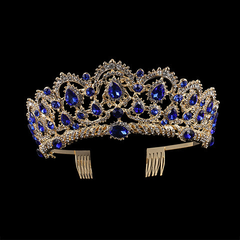 Blue Crystal Stones Elegant Gold tone metal Tiara Princess Prom Wedding Bridal Hair Jewelry Quinceanera Pageant headband Crown DB1107