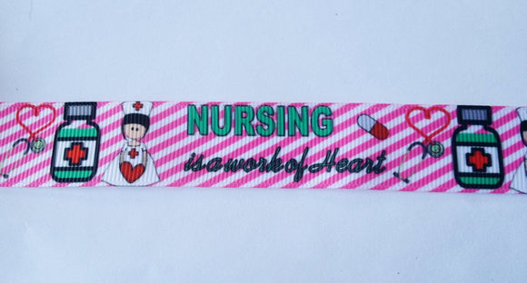 Nursing is a work of Heart Medical Nurse Supplies stripes white pink Grosgrain Ribbon  7/8