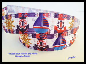 "10YD Nautical Boat Anchors and Wheel ships Ocean Sea Printed Grosgrain Ribbon 7/8"" wide Projects az76"
