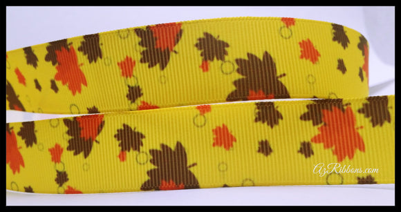 Leaves Bright Fall Orange Brown Yellow Weather Holiday Autumn Printed on Yellow Grosgrain Ribbon 7/8