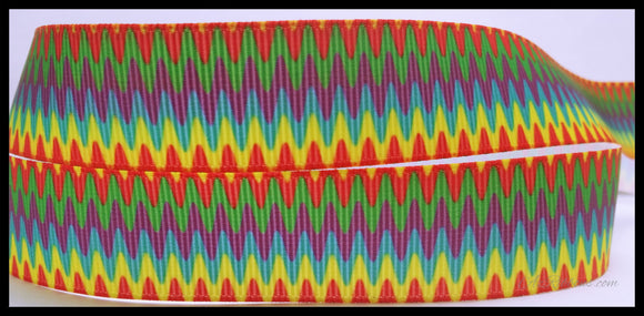 Rainbow Zig Zag Colorful Printed Grosgrain Ribbon 7/8