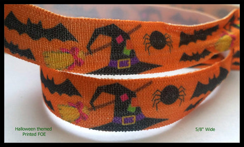 "Halloween Creepy Witch Hat Spiders Bats and Brooms Print FOE Ribbon  5/8"" Hair Bow ,collars AZ397"