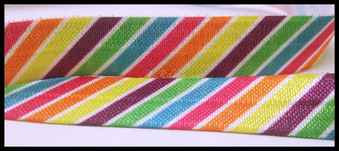 "7 YARD Bright Colorful Rainbow Stripes Vibrant Print FOE Ribbon  5/8"" Hair Bow Az393"