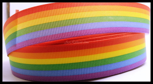 10YD Bright Rainbow Colored Print Grosgrain Ribbon 7/8