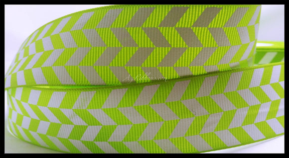Lime Green and White Geometric Pattern Herringbone Print Grosgrain Ribbon 1