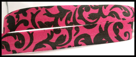 "Black Dark Pink Floral Pattern Designs Print FOE Ribbon 5/8"" Hair Bow AZ392"