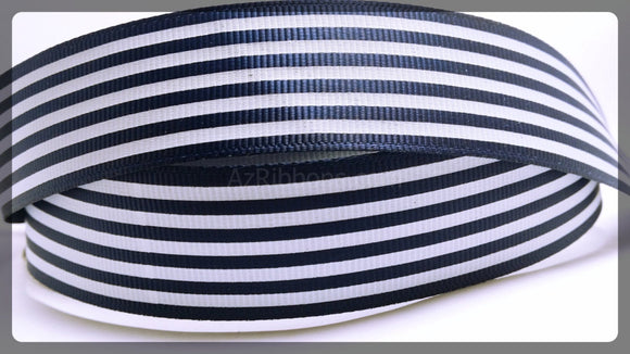 10YD Navy Blue and White Striped Grosgrain Ribbon 7/8